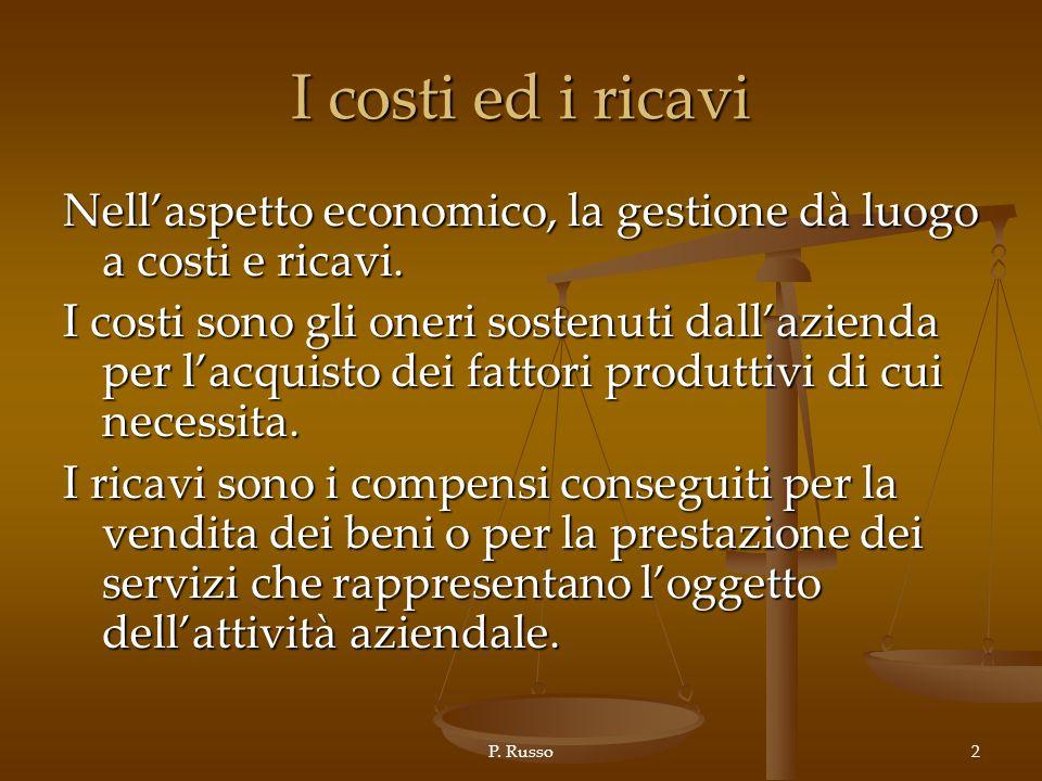 P. Russo2 I costi ed i ricavi Nellaspetto economico, la gestione dà luogo a costi e ricavi. I costi sono gli oneri sostenuti dallazienda per lacquisto