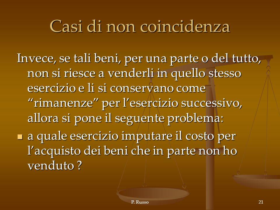 P. Russo21 Casi di non coincidenza Invece, se tali beni, per una parte o del tutto, non si riesce a venderli in quello stesso esercizio e li si conser