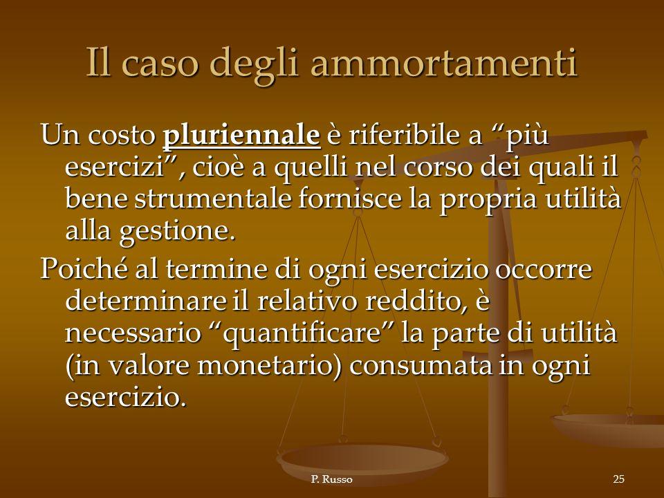 P. Russo25 Il caso degli ammortamenti Un costo pluriennale è riferibile a più esercizi, cioè a quelli nel corso dei quali il bene strumentale fornisce