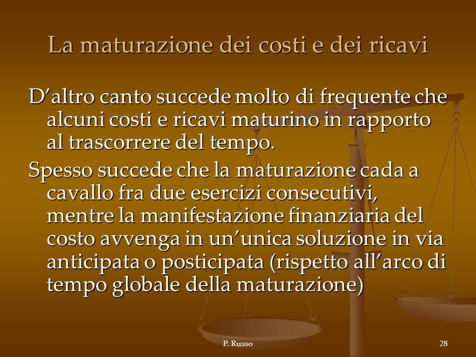 P. Russo28 La maturazione dei costi e dei ricavi Daltro canto succede molto di frequente che alcuni costi e ricavi maturino in rapporto al trascorrere