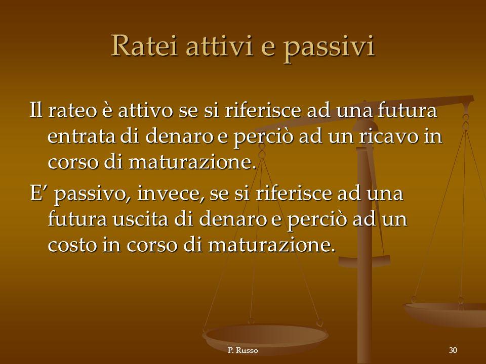 P. Russo30 Ratei attivi e passivi Il rateo è attivo se si riferisce ad una futura entrata di denaro e perciò ad un ricavo in corso di maturazione. E p