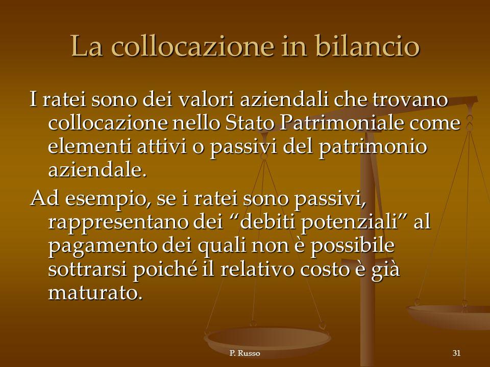 P. Russo31 La collocazione in bilancio I ratei sono dei valori aziendali che trovano collocazione nello Stato Patrimoniale come elementi attivi o pass
