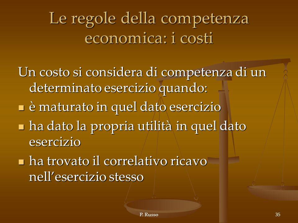 P. Russo35 Le regole della competenza economica: i costi Un costo si considera di competenza di un determinato esercizio quando: è maturato in quel da