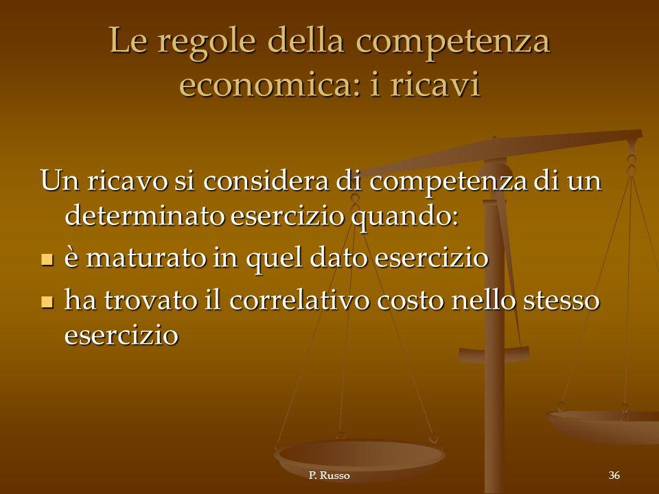 P. Russo36 Le regole della competenza economica: i ricavi Un ricavo si considera di competenza di un determinato esercizio quando: è maturato in quel