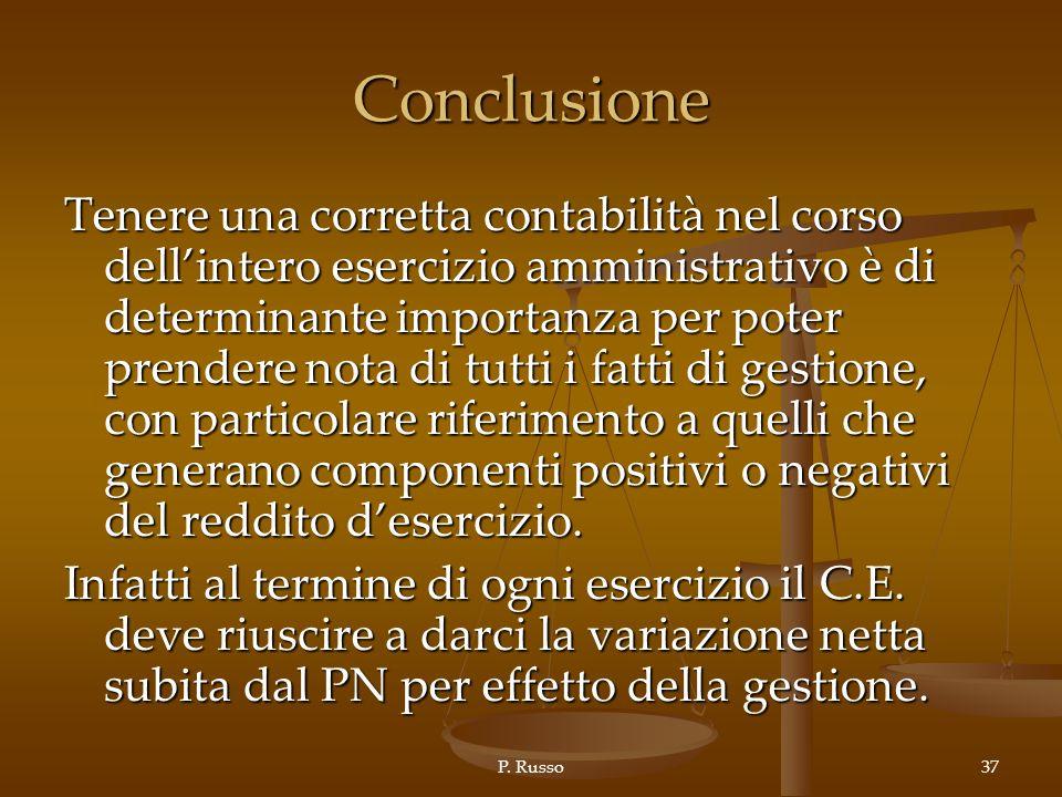 P. Russo37 Conclusione Tenere una corretta contabilità nel corso dellintero esercizio amministrativo è di determinante importanza per poter prendere n