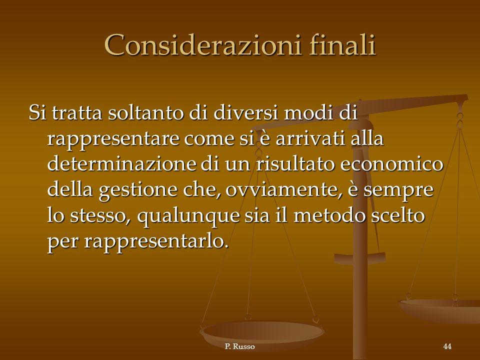 P. Russo44 Considerazioni finali Si tratta soltanto di diversi modi di rappresentare come si è arrivati alla determinazione di un risultato economico