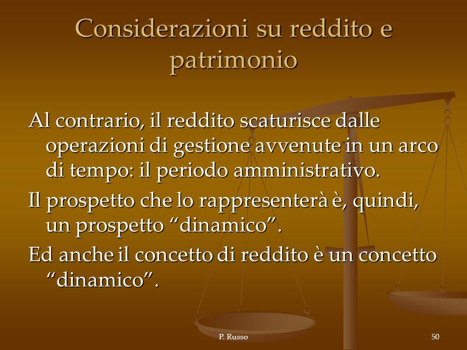 P. Russo50 Considerazioni su reddito e patrimonio Al contrario, il reddito scaturisce dalle operazioni di gestione avvenute in un arco di tempo: il pe