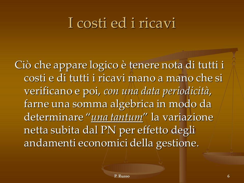 P. Russo6 I costi ed i ricavi Ciò che appare logico è tenere nota di tutti i costi e di tutti i ricavi mano a mano che si verificano e poi, con una da