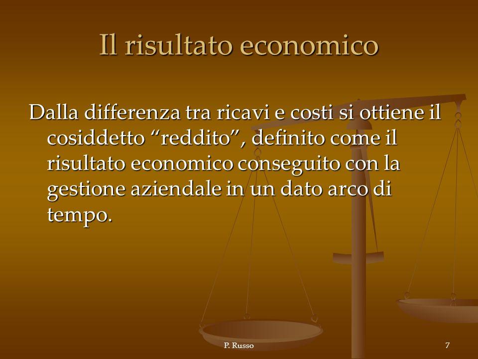 P. Russo7 Il risultato economico Dalla differenza tra ricavi e costi si ottiene il cosiddetto reddito, definito come il risultato economico conseguito