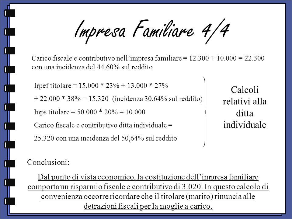 Impresa Familiare 4/4 Conclusioni: Dal punto di vista economico, la costituzione dellimpresa familiare comporta un risparmio fiscale e contributivo di 3.020.