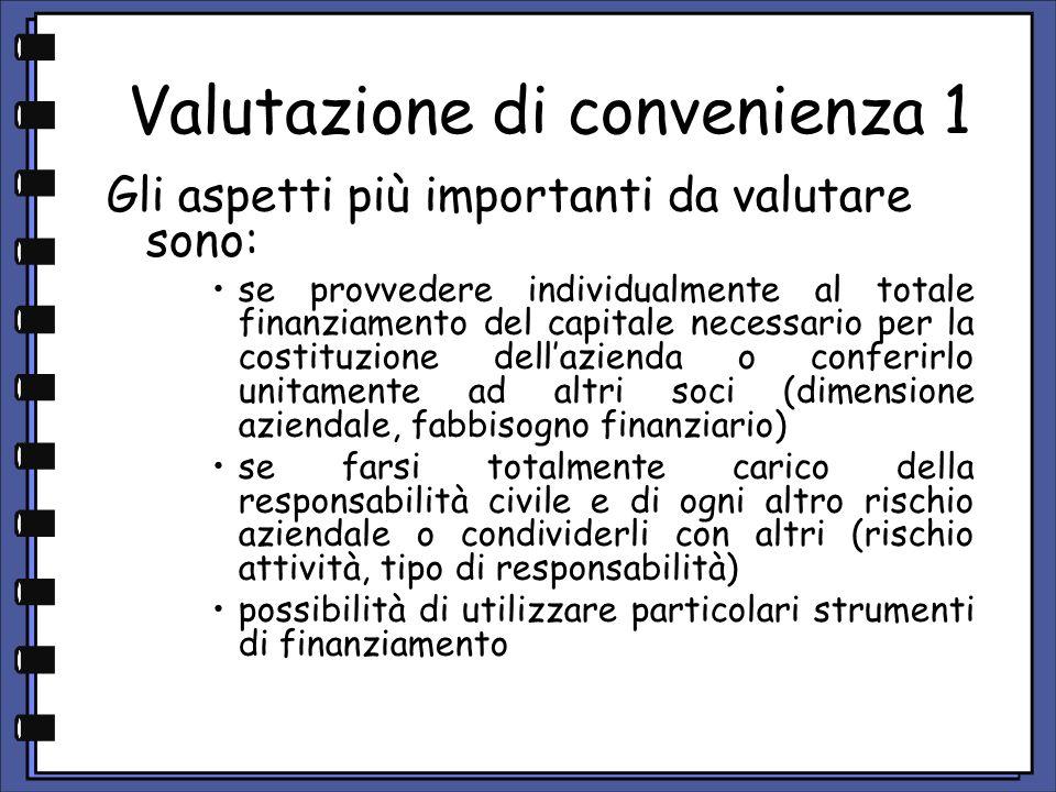Valutazione di convenienza 2 entità degli oneri per il funzionamento della società trattamento fiscale se assumere ogni decisione per la gestione aziendale in piena autonomia o condividere scelte e proposte di altre persone.