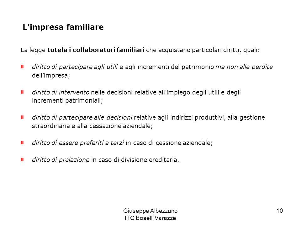 Giuseppe Albezzano ITC Boselli Varazze 10 Limpresa familiare La legge tutela i collaboratori familiari che acquistano particolari diritti, quali: diri