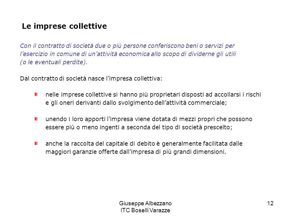 Giuseppe Albezzano ITC Boselli Varazze 12 Le imprese collettive Con il contratto di società due o più persone conferiscono beni o servizi per leserciz