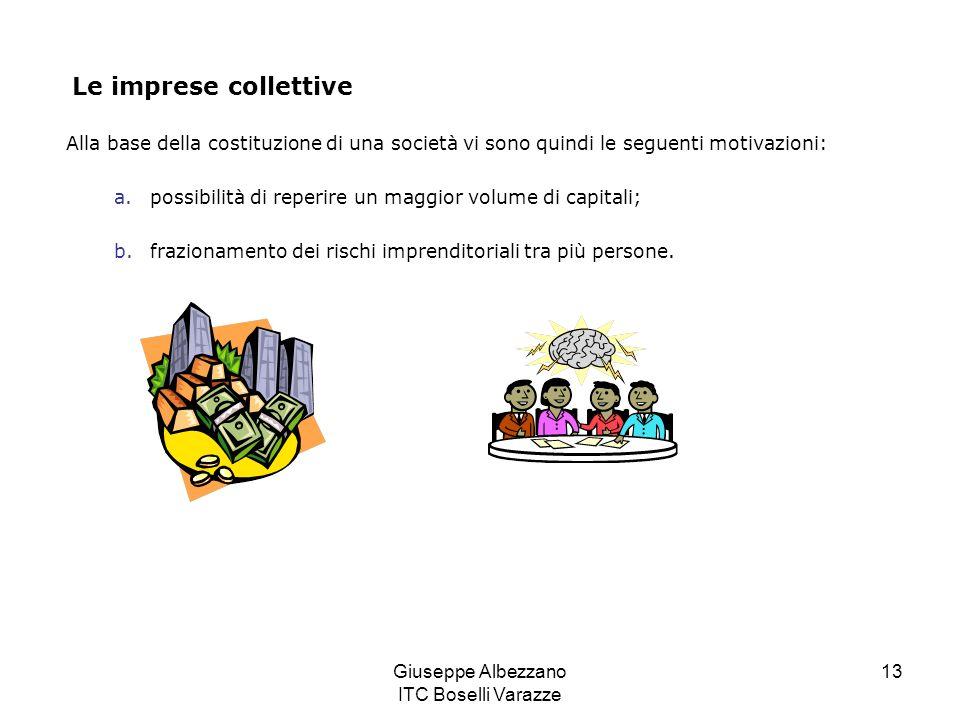 Giuseppe Albezzano ITC Boselli Varazze 13 Le imprese collettive Alla base della costituzione di una società vi sono quindi le seguenti motivazioni: a.