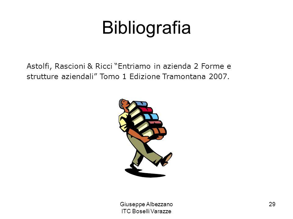 Giuseppe Albezzano ITC Boselli Varazze 29 Bibliografia Astolfi, Rascioni & Ricci Entriamo in azienda 2 Forme e strutture aziendali Tomo 1 Edizione Tra
