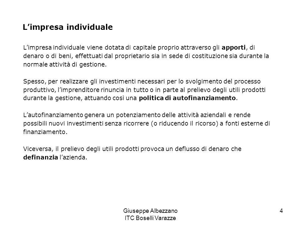 Giuseppe Albezzano ITC Boselli Varazze 4 Limpresa individuale Limpresa individuale viene dotata di capitale proprio attraverso gli apporti, di denaro