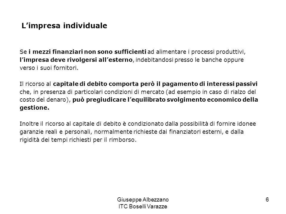 Giuseppe Albezzano ITC Boselli Varazze 6 Limpresa individuale Se i mezzi finanziari non sono sufficienti ad alimentare i processi produttivi, limpresa