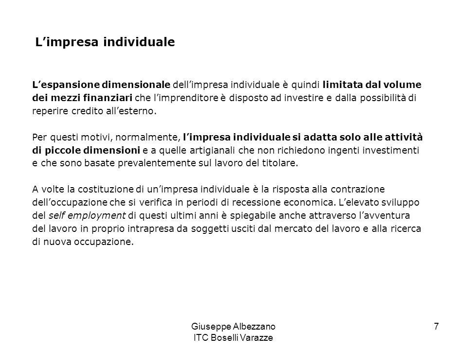 Giuseppe Albezzano ITC Boselli Varazze 7 Limpresa individuale Lespansione dimensionale dellimpresa individuale è quindi limitata dal volume dei mezzi
