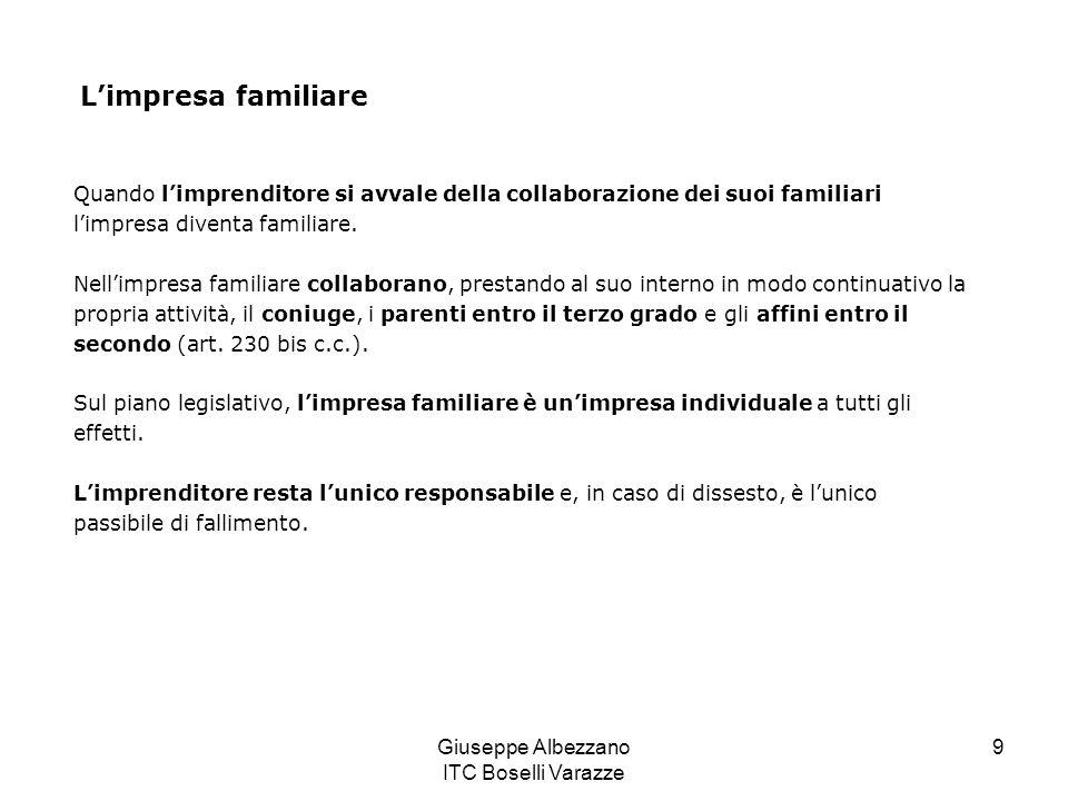 Giuseppe Albezzano ITC Boselli Varazze 9 Limpresa familiare Quando limprenditore si avvale della collaborazione dei suoi familiari limpresa diventa fa