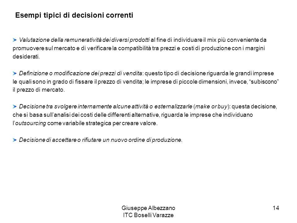 Giuseppe Albezzano ITC Boselli Varazze 14 Esempi tipici di decisioni correnti Valutazione della remuneratività dei diversi prodotti al fine di individ