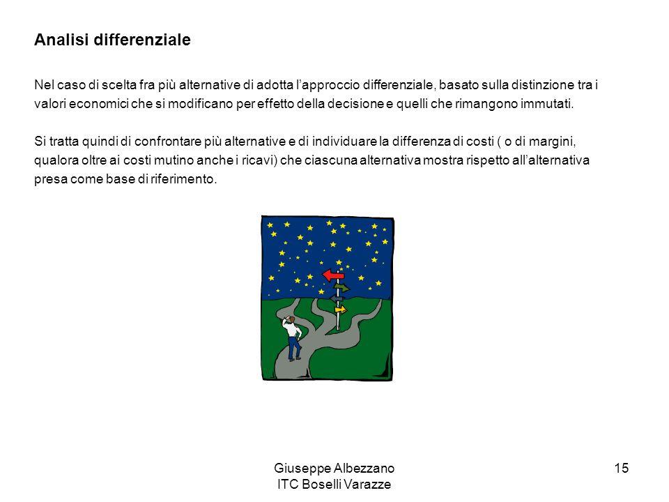 Giuseppe Albezzano ITC Boselli Varazze 15 Analisi differenziale Nel caso di scelta fra più alternative di adotta lapproccio differenziale, basato sull