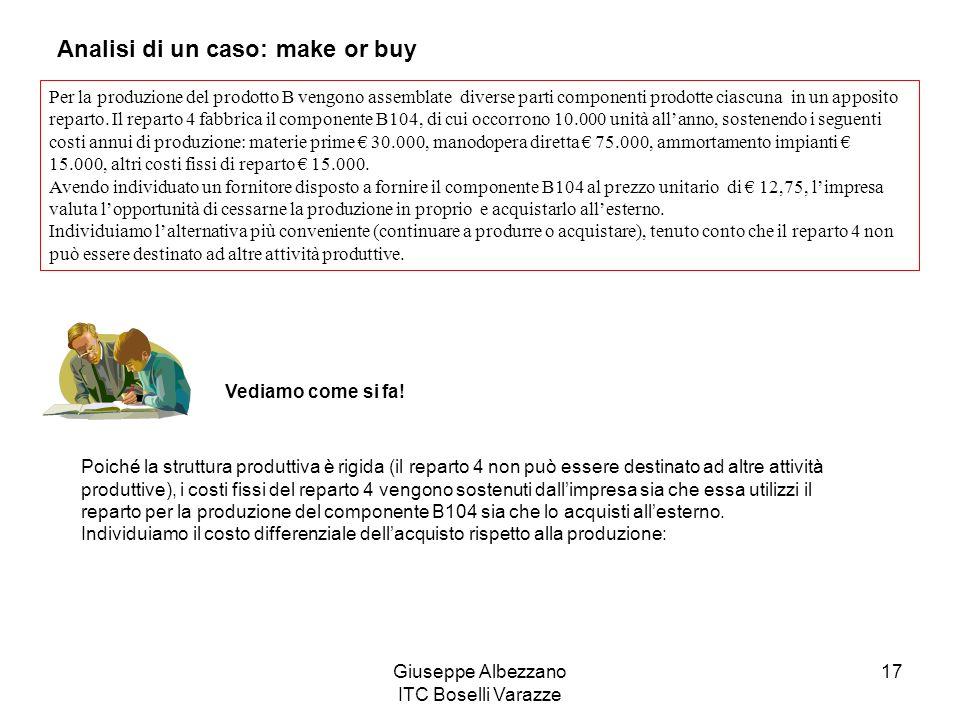 Giuseppe Albezzano ITC Boselli Varazze 17 Analisi di un caso: make or buy Per la produzione del prodotto B vengono assemblate diverse parti componenti