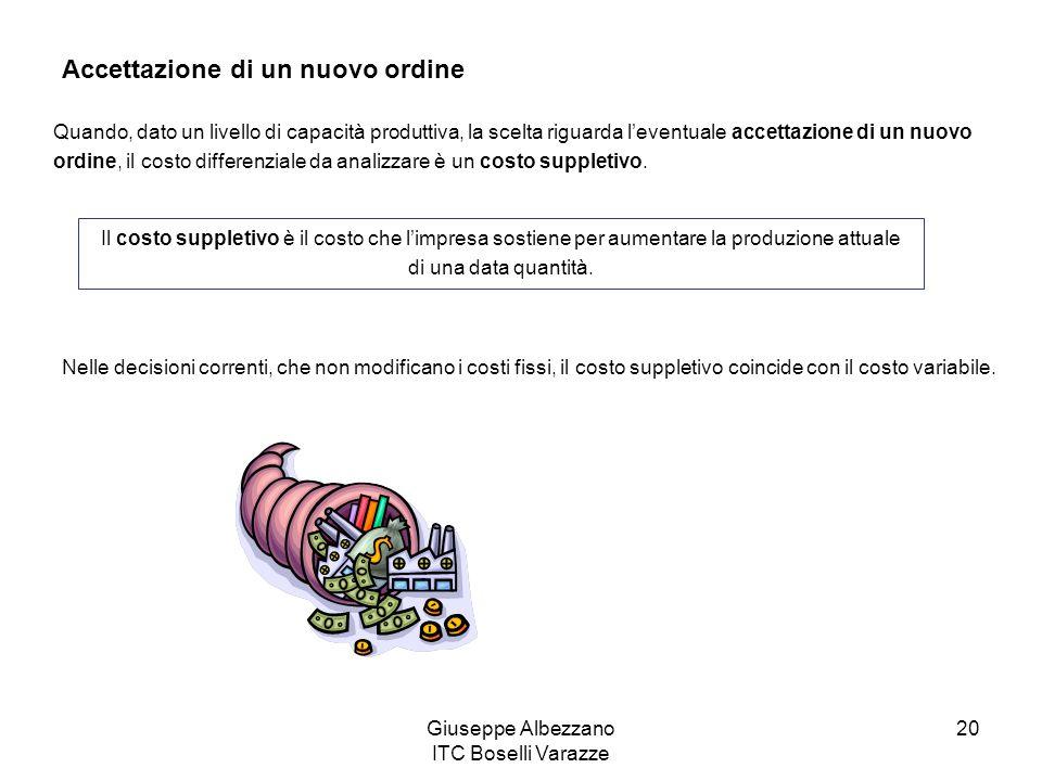 Giuseppe Albezzano ITC Boselli Varazze 20 Accettazione di un nuovo ordine Quando, dato un livello di capacità produttiva, la scelta riguarda leventual