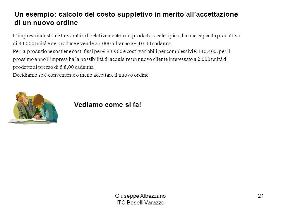 Giuseppe Albezzano ITC Boselli Varazze 21 Un esempio: calcolo del costo suppletivo in merito allaccettazione di un nuovo ordine Limpresa industriale L