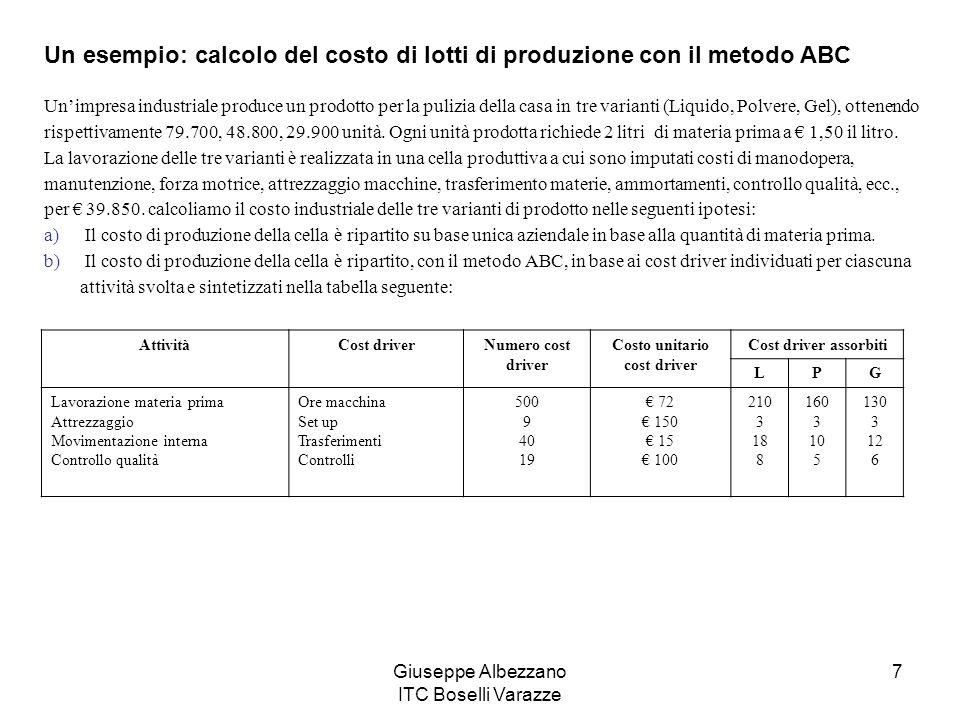 Giuseppe Albezzano ITC Boselli Varazze 7 Un esempio: calcolo del costo di lotti di produzione con il metodo ABC Unimpresa industriale produce un prodo