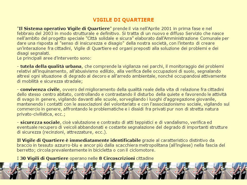 VIGILE DI QUARTIERE Il Sistema operativo Vigile di Quartiere prende il via nell Aprile 2001 in prima fase e nel febbraio del 2003 in modo strutturale e definitivo.