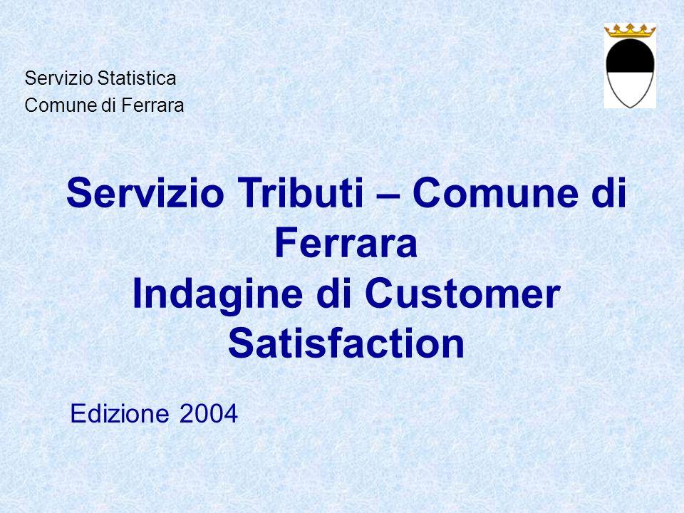 Servizio Tributi – Comune di Ferrara Indagine di Customer Satisfaction Edizione 2004 Servizio Statistica Comune di Ferrara