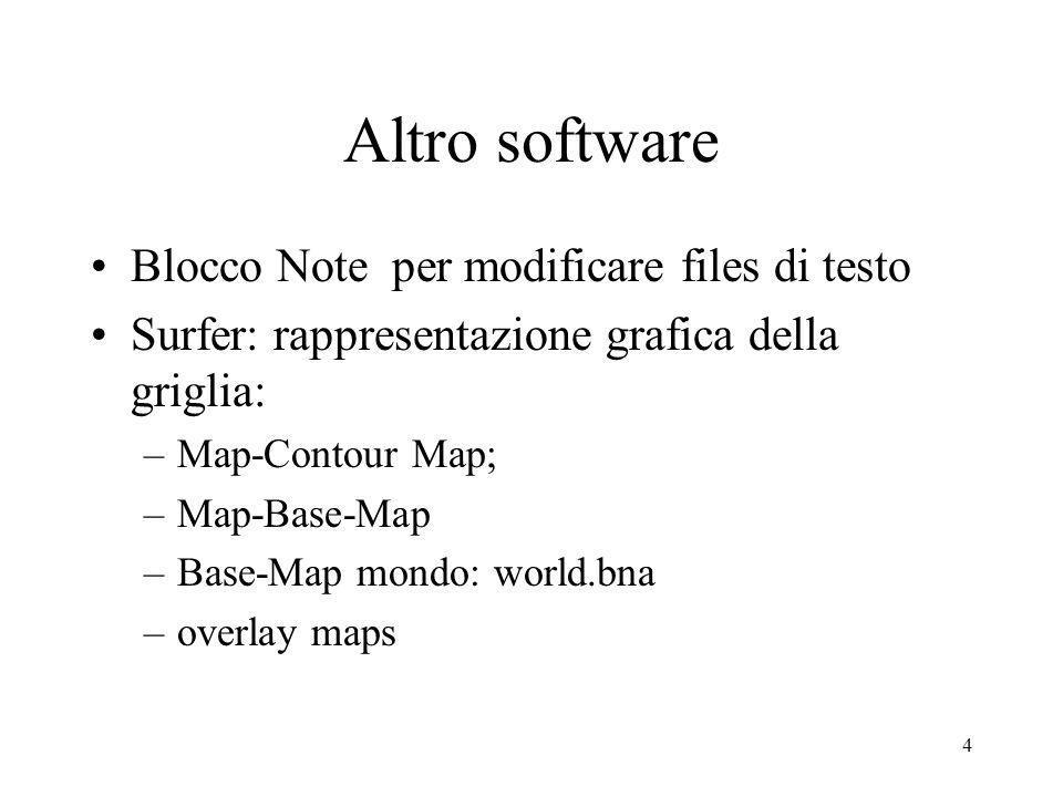 4 Altro software Blocco Note per modificare files di testo Surfer: rappresentazione grafica della griglia: –Map-Contour Map; –Map-Base-Map –Base-Map m