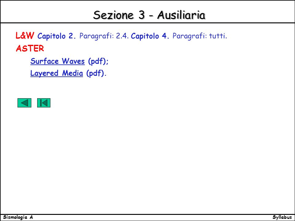 SyllabusSismologia A Sezione 3 - Ausiliaria L&W Capitolo 2. Paragrafi: 2.4. Capitolo 4. Paragrafi: tutti. ASTER Surface Waves (pdf); Layered Media (pd