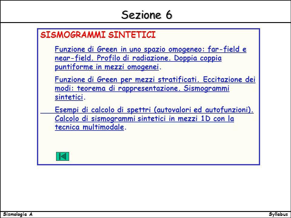 SyllabusSismologia A Sezione 6 SISMOGRAMMI SINTETICI Funzione di Green in uno spazio omogeneo: far-field e near-field.