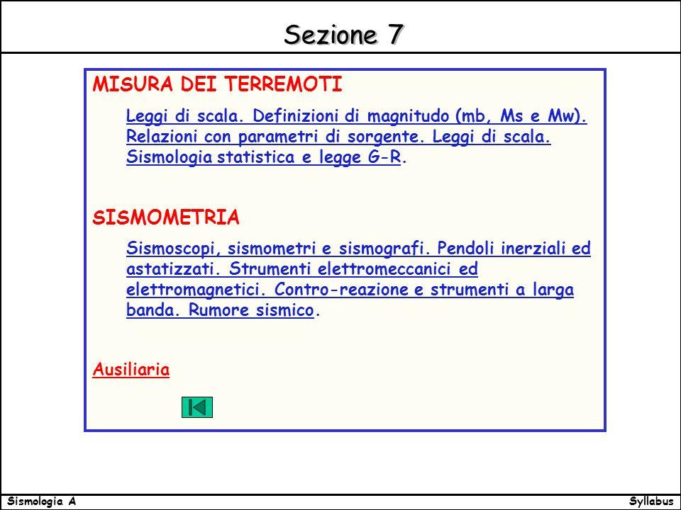 SyllabusSismologia A Sezione 7 MISURA DEI TERREMOTI Leggi di scala.