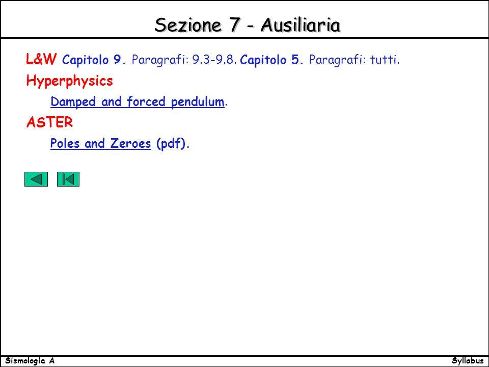 SyllabusSismologia A Sezione 7 - Ausiliaria L&W Capitolo 9.