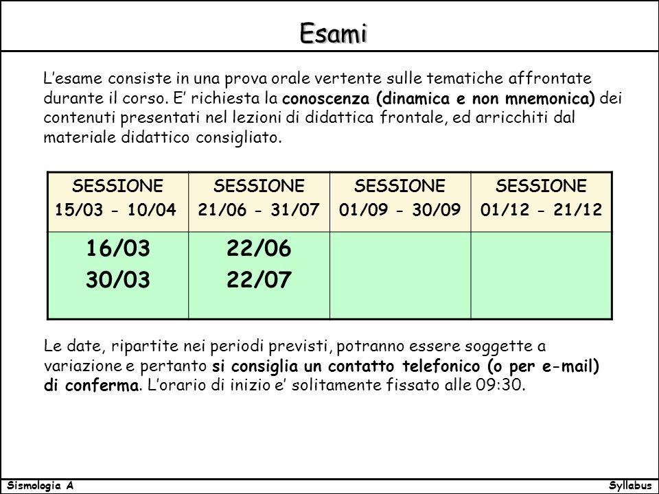 SyllabusSismologia A Esami Lesame consiste in una prova orale vertente sulle tematiche affrontate durante il corso.