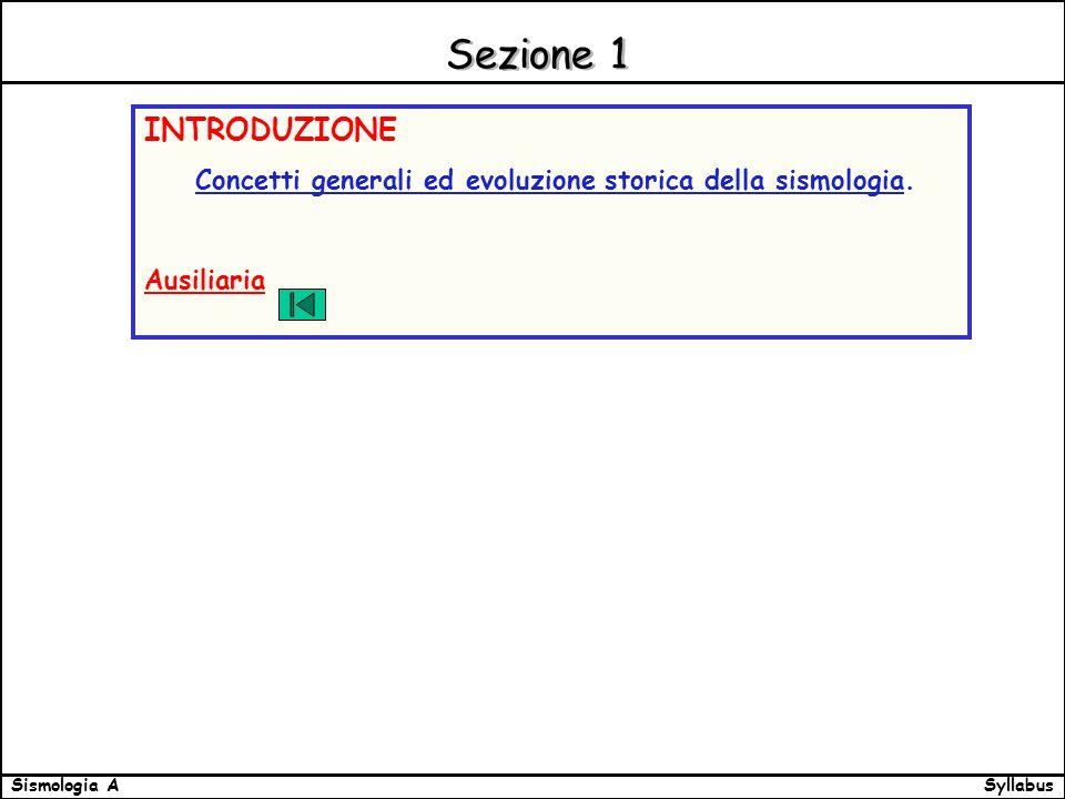 SyllabusSismologia A Sezione 1 INTRODUZIONE Concetti generali ed evoluzione storica della sismologia.
