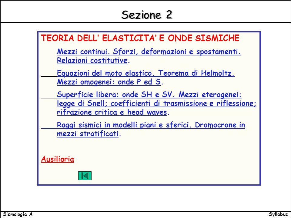 SyllabusSismologia A Sezione 2 TEORIA DELL ELASTICITA E ONDE SISMICHE Mezzi continui.