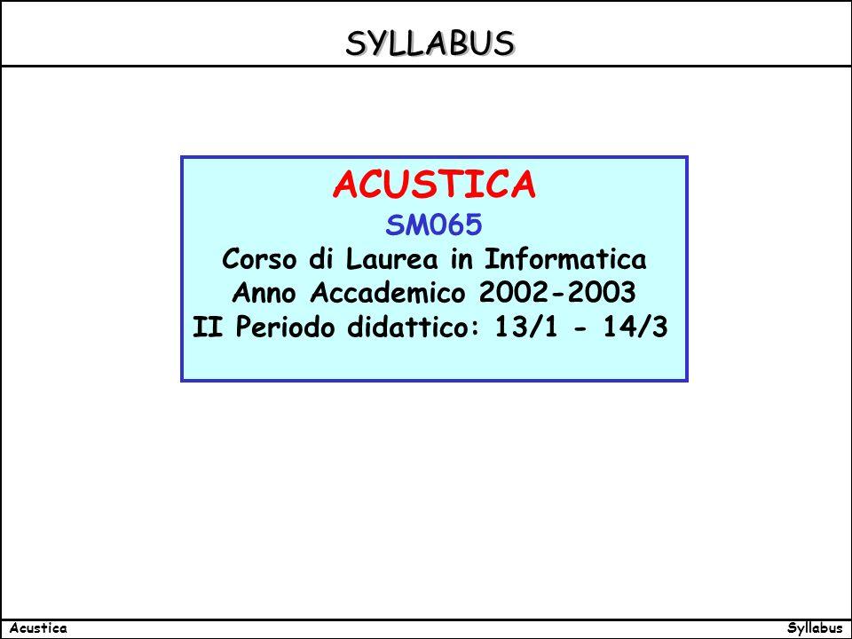 SyllabusAcustica SYLLABUS ACUSTICA SM065 Corso di Laurea in Informatica Anno Accademico 2002-2003 II Periodo didattico: 13/1 - 14/3