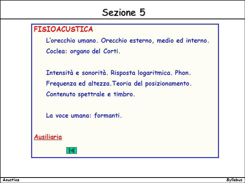 SyllabusAcustica Sezione 5 FISIOACUSTICA Lorecchio umano.