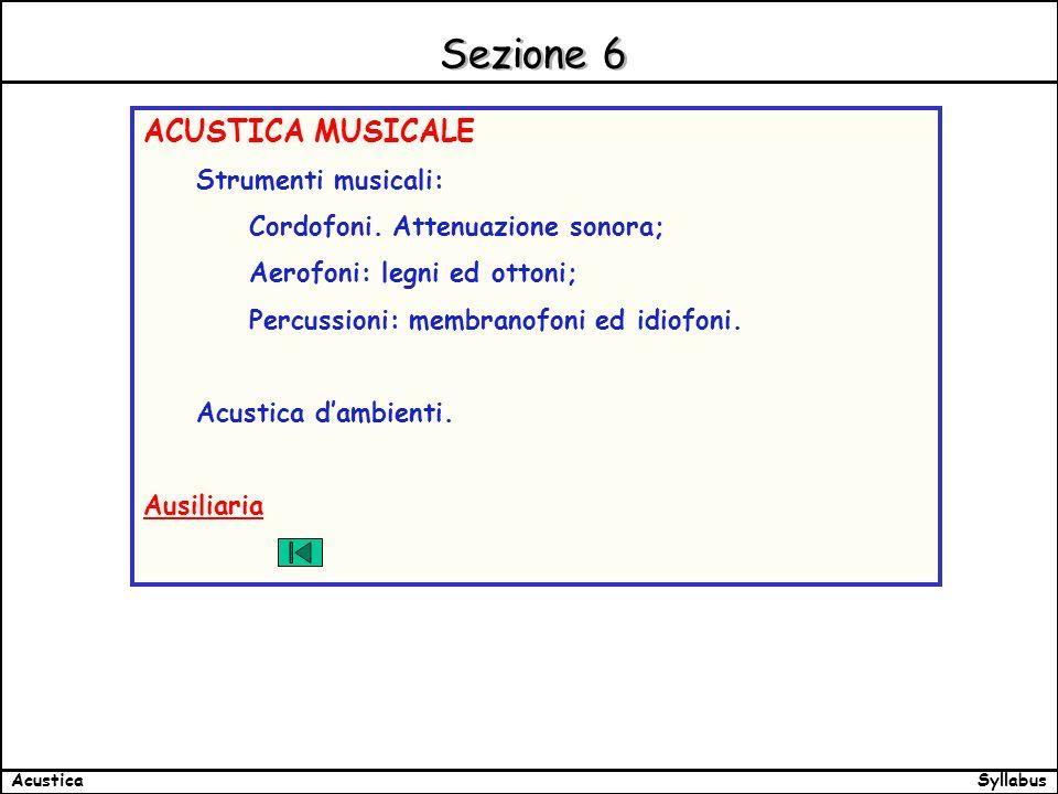 SyllabusAcustica Sezione 6 ACUSTICA MUSICALE Strumenti musicali: Cordofoni.