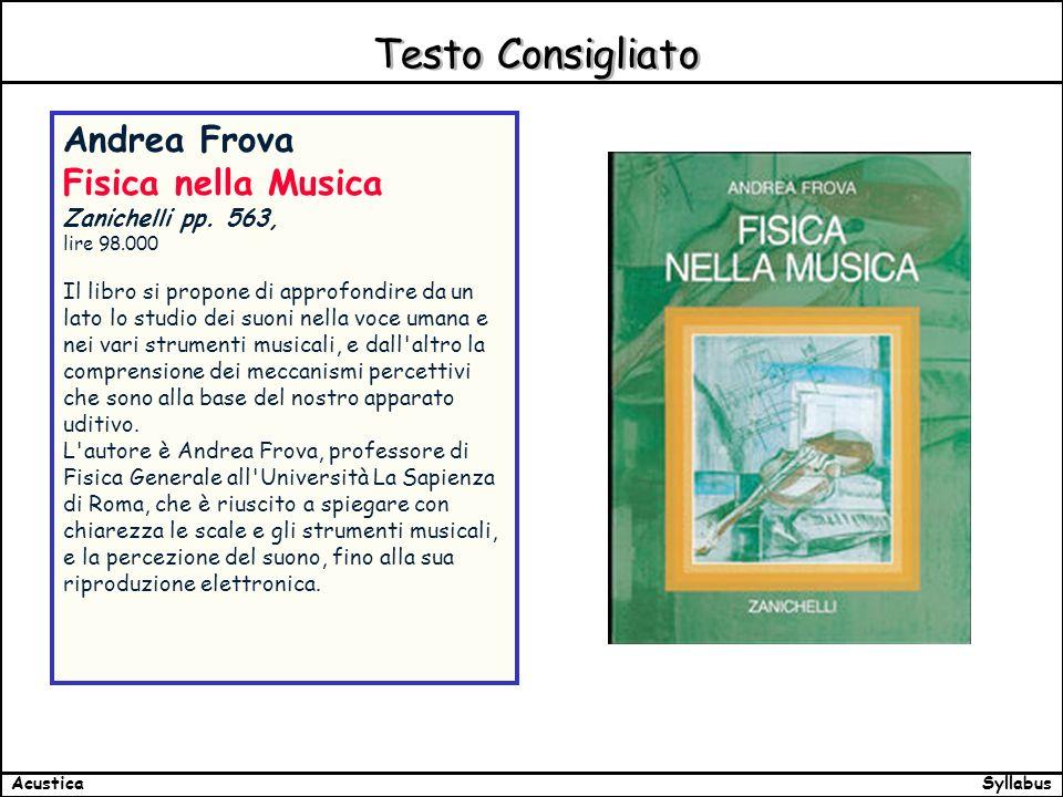 SyllabusAcustica Testo Consigliato Andrea Frova Fisica nella Musica Zanichelli pp.