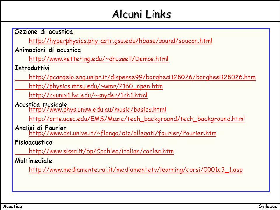 SyllabusAcustica Alcuni Links Sezione di acustica http://hyperphysics.phy-astr.gsu.edu/hbase/sound/soucon.html Animazioni di acustica http://www.kettering.edu/~drussell/Demos.html Introduttivi http://pcangelo.eng.unipr.it/dispense99/borghesi128026/borghesi128026.htm http://physics.mtsu.edu/~wmr/P160_open.htm http://csunix1.lvc.edu/~snyder/1ch1.html Acustica musicale http://www.phys.unsw.edu.au/music/basics.html http://www.phys.unsw.edu.au/music/basics.html http://arts.ucsc.edu/EMS/Music/tech_background/tech_background.html Analisi di Fourier http://www.dsi.unive.it/~flongo/diz/allegati/fourier/Fourier.htm http://www.dsi.unive.it/~flongo/diz/allegati/fourier/Fourier.htm Fisioacustica http://www.sissa.it/bp/Cochlea/italian/coclea.htm Multimediale http://www.mediamente.rai.it/mediamentetv/learning/corsi/0001c3_1.asp