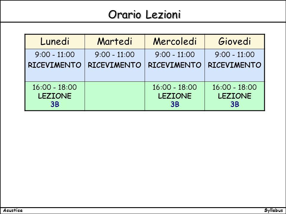 SyllabusAcustica Orario Lezioni LunediMartediMercolediGiovedi 9:00 - 11:00 RICEVIMENTO 9:00 - 11:00 RICEVIMENTO 9:00 - 11:00 RICEVIMENTO 9:00 - 11:00 RICEVIMENTO 16:00 - 18:00 LEZIONE 3B 16:00 - 18:00 LEZIONE 3B 16:00 - 18:00 LEZIONE 3B