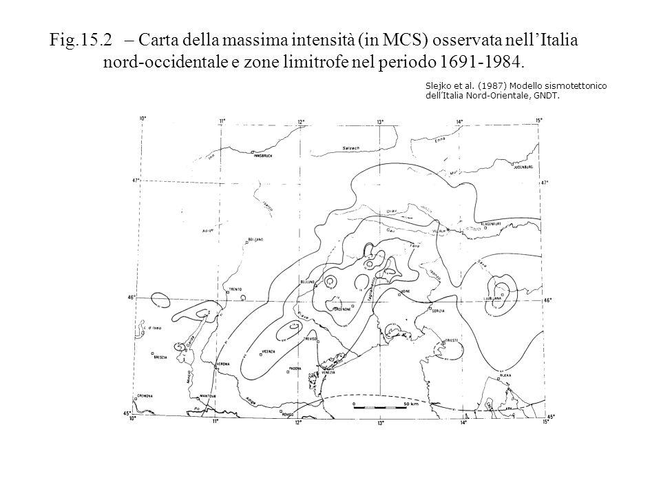 Slejko et al. (1987) Modello sismotettonico dellItalia Nord-Orientale, GNDT. Fig.15.2 – Carta della massima intensità (in MCS) osservata nellItalia no