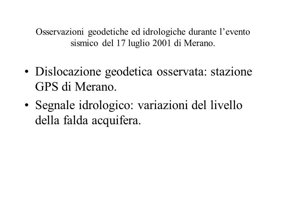 Osservazioni geodetiche ed idrologiche durante levento sismico del 17 luglio 2001 di Merano. Dislocazione geodetica osservata: stazione GPS di Merano.