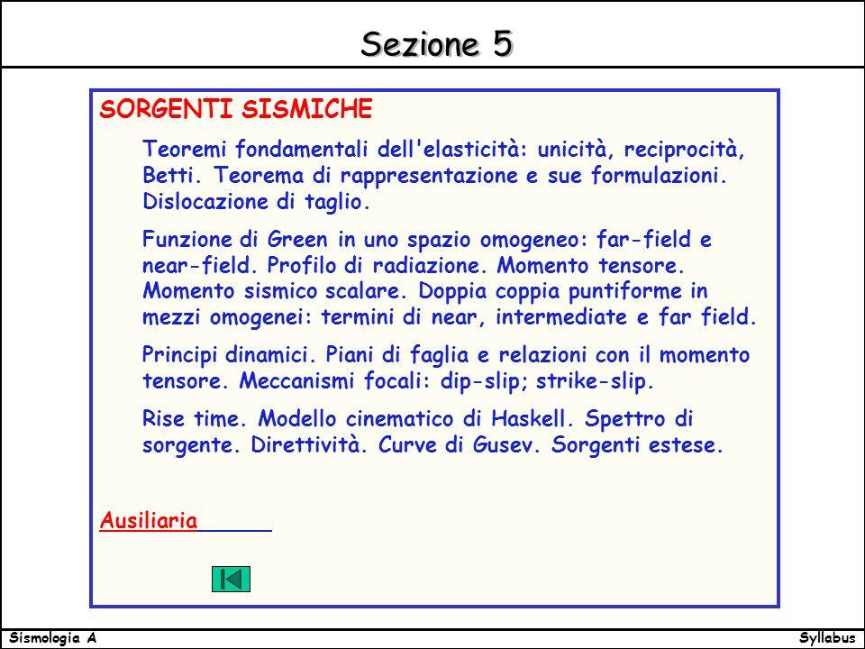 SyllabusSismologia A Sezione 5 SORGENTI SISMICHE Teoremi fondamentali dell elasticità: unicità, reciprocità, Betti.