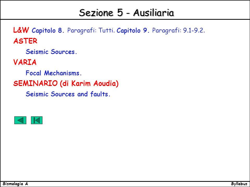 SyllabusSismologia A Sezione 5 - Ausiliaria L&W Capitolo 8.