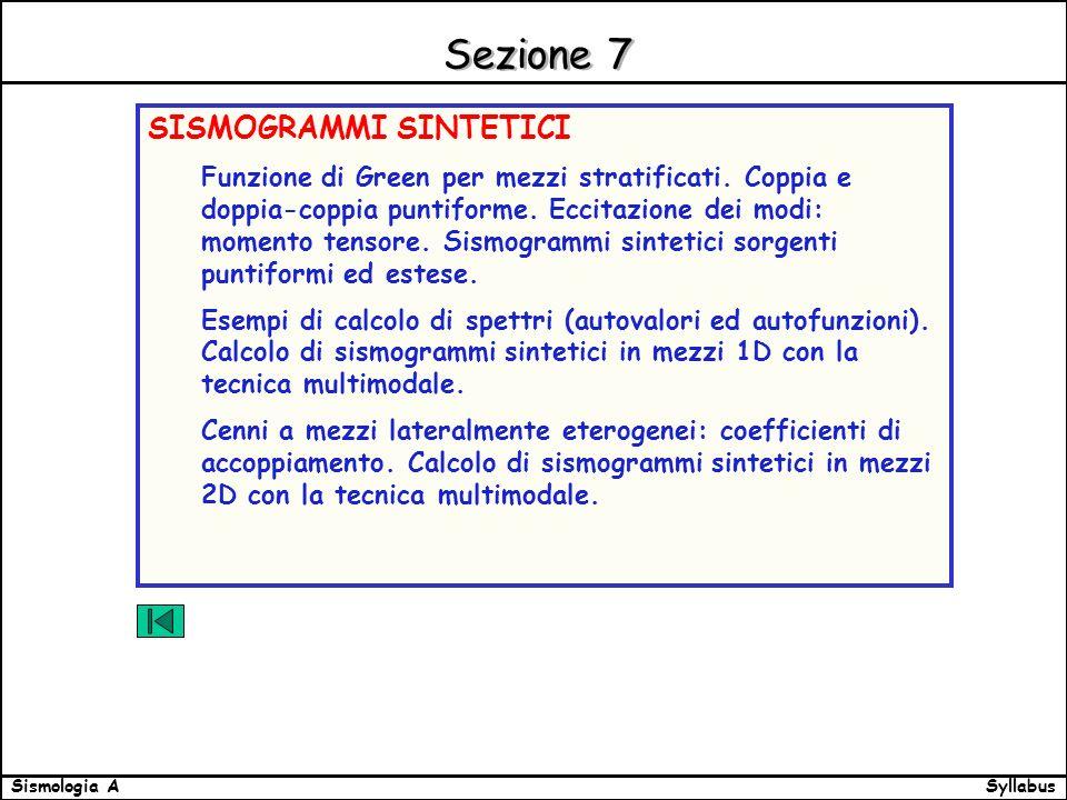 SyllabusSismologia A Sezione 7 SISMOGRAMMI SINTETICI Funzione di Green per mezzi stratificati.